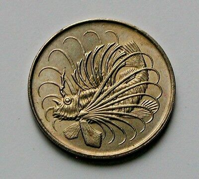 Singapore 1972 50 CENTS Coin AU++ with Toned-Lustre & Lion Fish Ocean Animal