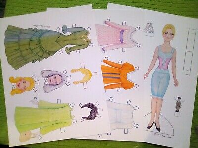 DARK SHADOWS Paper Doll ANGELIQUE the Witch, 3 Page Set, Dated 2019