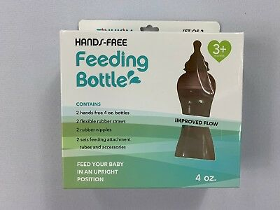 Tinukim Hands Free Feeding Bottle 2 Bottles 4 oz Each Damaged Packaging NEW BJ