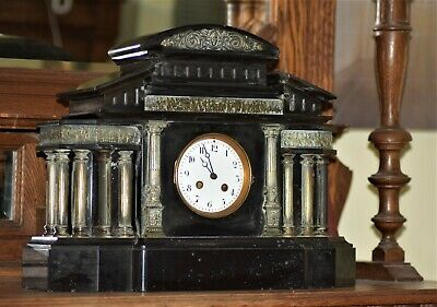 Antique mantle clock, black Slate  and marble -not working