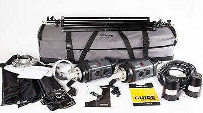 Bowens Esprit Gemini GM500.  2 Head Flash Outfit, Stands, Softbox, Brolly, Case