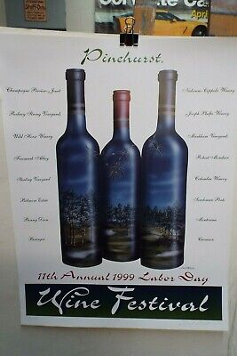 6 lot Pinehurst Wine Festival Posters Signed & # 1998 to 2003
