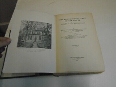 Antique Medical Book, Institutional Care of the Insane, Insanity, 1916