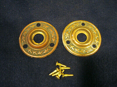 Pair Antique Eastlake Door knob Rosettes Backplates Escutcheons Roses - Corbin
