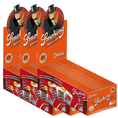 3 x SMOKING Orange Regular Rolling Papers Full Box (150 Booklets / 9000 Leaves)