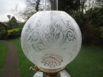 Superb Original Antique Victorian Acid Etched Duplex Oil Lamp Shade
