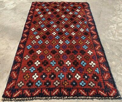 Authentic Hand Knotted Afghan Balouch Wool Area Rug 4.5 x 2.9 Ft (159 HM)