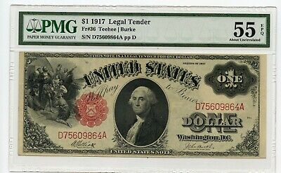 1917 $1 Legal Tender Note (About Uncirculated 55 EPQ) PMG