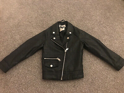 H & M Girls Faux Leather Jacket Age 2-3