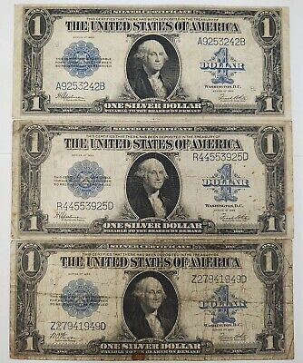 1923  $1 Silver Certificates Lot Of Three