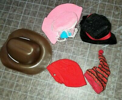 Lot of Barbie or same size Doll Hats Cowboy dress hat winter nap hat 5 pieces
