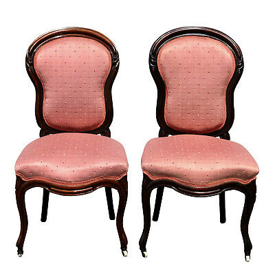 Antique Victorian Walnut Boudoir Balloon Back Chairs w/ Pink Upholstered A Pair