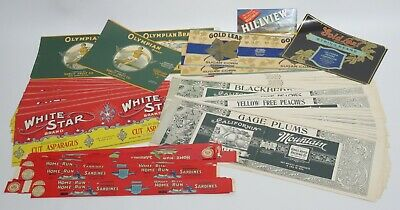 Fruit, Asparagus, Sardines Labels Vintage Lot of 60+
