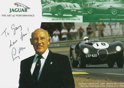 Sir Stirling Moss (deceased) Personal F1 Hand Signed Driver Photograph (Jaguar)