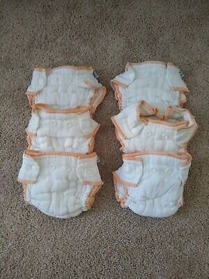 (6) Cloth-eez Workhorse Fitted Diaper - Snap Closure Newborn size - light use