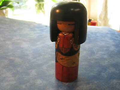 "VINTAGE JAPANESE SOUSAKU KOKESHI DOLL WITH KIMONO  5"" Tall SIGNED by Li"