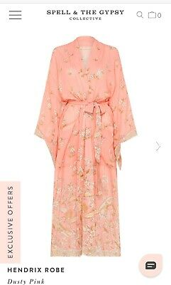 NWT SPELL & The Gypsy Collective Hendrix Design Robe M/L Dusty Pink SOLD OUT