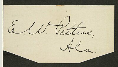 Original Confederate States Army General Edmund Pettus Cut Signature / Autograph