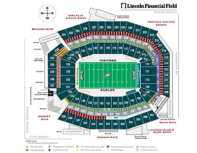 2 Phila. Eagles Lower Level section 103 ROW2 tickets vs New York Jets 9/3