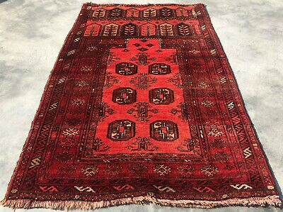 Authentic Hand Knotted Vintage Afghan Dolat Abad Wool Area Rug 4 x 3 Ft