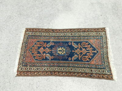 "Thin Antique Oriental Hand Knotted Persian Rug 50"" by 27"""