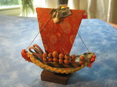 """JAPANESE UNIQUE WOODEN 7 GODS ON A SHIP KOKESHI DOLL  4.5"""" Tall"""