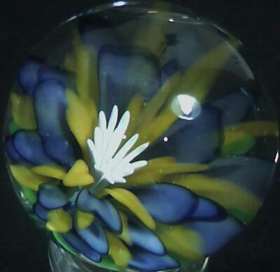 "RPC Marbles! 1.48"" Hand Made Glass Marble -Art Glass Marble ""Bicolor Wildflower"""