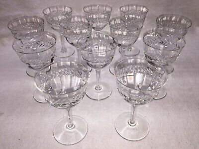 "Set of 12 Crystal Cordial / Wine Glasses Laurel Cut Glass 5"" tall"