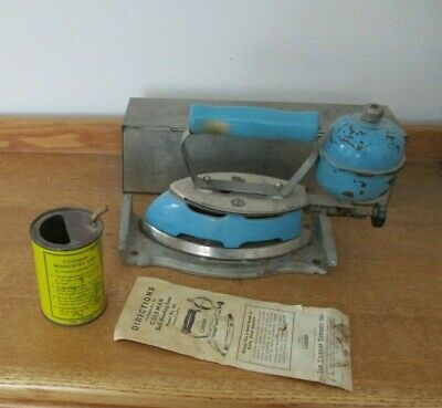 Vintage Coleman Gas Clothes Iron Blue Color with Stand, Empty Gas Can & Brochure