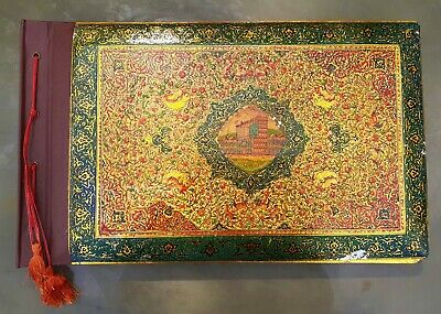 Antique Persian Middle East Enameled Silver on Wood Photo Album Mosque's 1920's