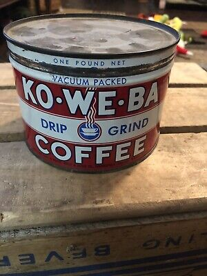 Vintage KO-WE-BA Coffee 1 lb keywind tin can Kothe, Wells & Bauer IND right lid