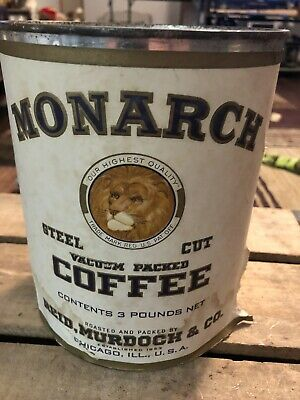 Vintage MONARCH Tin Can COFFEE 3lb Can Sealed Never Opened Paper Label