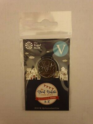 2018 Royal Mint New Uncirculated 10p Coin Letter V (Village) in a pack