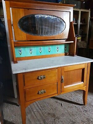 Antique Art Deco Edwardian Marble Top Washstand Kauri Pine Hall Table Restored