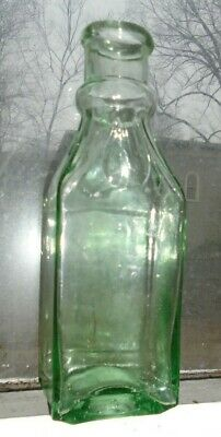 fine old green aqua glass cathedral pickle bottle
