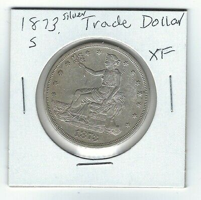 US 1873-S  Seated Liberty SILVER TRADE DOLLAR  (XF)  VERY NICE COIN!