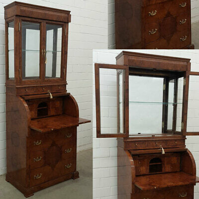 SCHRANK mit VITRINE, KOMMODE, SCHREIBPULT - SECRETARY CABINET, WRITING COMMODE