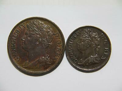 Ireland 1822 One Penny 1823 Half P King George Iv Low Grade World Coin Lot 🌈⭐🌈