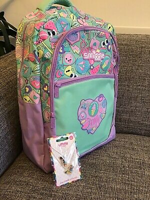 Smiggle Funky Diy Kit Backpack Purple cats 6 fabric markers boy girls bag school