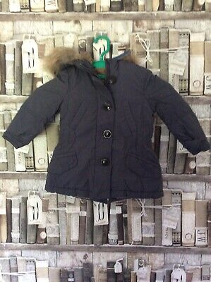 Beautiful Girls Grey Fur Lined Winter Coat With Detatchable Hood Age 2 New Shop