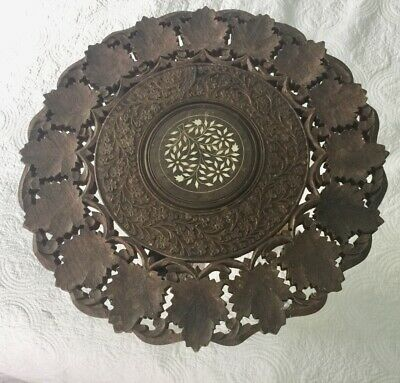 Vintage Large Indian Carved Wood Folding Table Leaf Design