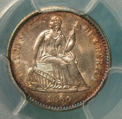 1860 Seated Liberty Silver Half Dime PCGS MS 62 Super Album Toning! * US Coin