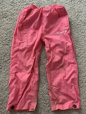 Girls Peter Storm Pink Waterproof Trousers 3-4 Years