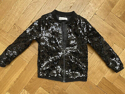 H&M Girls Black Sparkly Sequin Bomber Jacket 4-5 Years