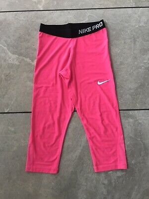 Nike Pro 3/4 Leggings Girls Size Large 12 13 Hot Pink Gym Pants