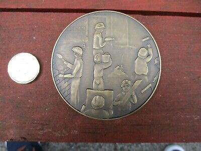 Portugal bronze medallion to do with construction, 80mm Diameter heavy