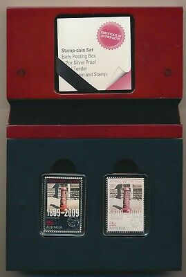 """Australia: 2009 55c Legal tender silver """"stamp"""" coin, Early Posting Box Set Rare"""
