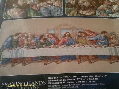 janlynn praying hands collection cross stitch kit the last supper made in u.s.a