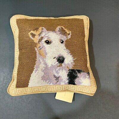 """Wire Fox  Terrier  needlepoint 10"""" accent pillow"""
