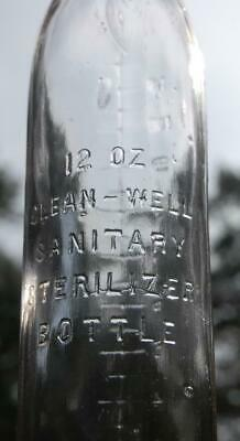 ANTIQUE BLOWN 12oz GLASS BABY BOTTLE SANITARY STERILIZED L.W.T. CLEAN  WELL N.Y.